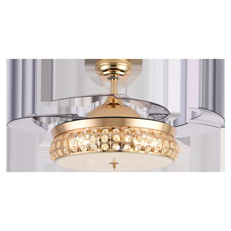 变频款跟普通款42寸四叶时尚欧式法式水晶隐形吊扇灯客厅卧室餐厅