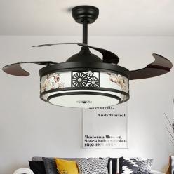中式现代简约款多种花纹可选隐形吊扇灯
