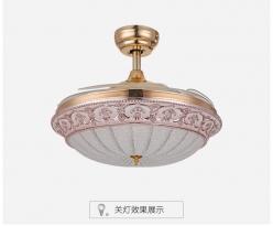 北欧轻奢时尚简约4210水晶隐形吊扇灯