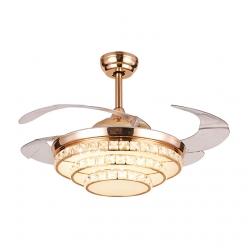 高端时尚欧式Y4235餐厅客厅卧室水晶隐形吊扇灯