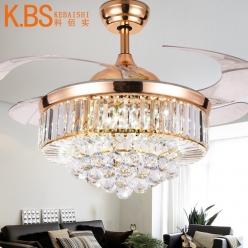42寸三色光源法式欧式Y4240时尚奢华水晶隐形吊扇灯