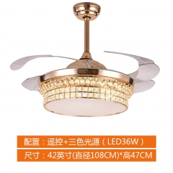 Y4241法式欧式奢华时尚水晶吊扇灯餐厅卧室客厅
