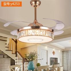 Y4253时尚轻奢法式欧式水晶隐形吊扇灯餐厅客厅卧室