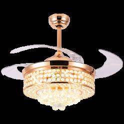 法式欧式Y4295奢华时尚42寸三色光源水晶隐形吊扇灯餐厅卧室客厅