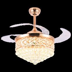 欧式法式Y4297时尚奢华42寸四叶三色光源水晶隐形吊扇灯客厅卧室餐厅