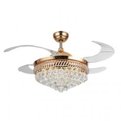 四叶三色光源42寸奢华法式欧式时尚款水晶隐形吊扇灯