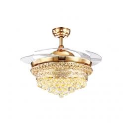 42寸四叶奢华欧式法式时尚奢华水晶隐形吊扇灯客厅餐厅卧室