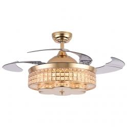 匠心工艺时尚奢华法式欧式水晶隐形吊扇灯客厅卧室餐厅卧室