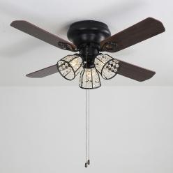 美式木艺风扇灯4222哑黑