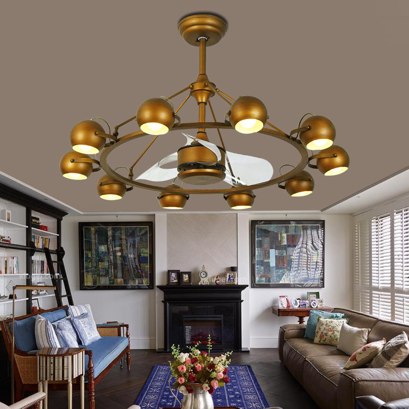 European Style Chandelier Contemporary Decorative Remote Control DC Function Ceiling Fan With Light